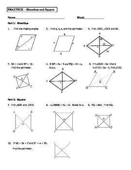 Geometry Unit 5 Rhombus and Square Practice Worksheet