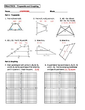 Geometry Unit 5 Trapezoid and Quadrilateral Graphing Practice Worksheet