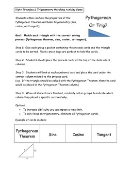 Geometry Unit 6 Activity - Pythagorean and Sin Cos Tan Tri