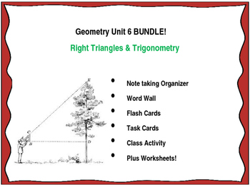 Geometry Unit 6 BUNDLE Right Triangles and Trigonometry