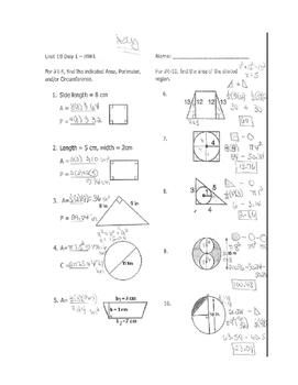 Geometry Unit 7 2D Area and Perimeter Worksheet