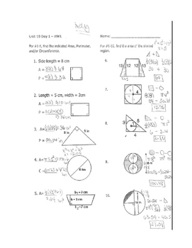 Geometry Unit 7 2D Area and Perimeter Worksheet