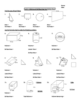 Geometry Unit 7 Area and Volume Unit Review Worksheet | TpT