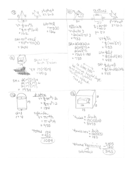 Geometry Unit 7 Area and Volume Unit Review Worksheet