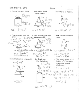Geometry Unit 7 Cone Pyramid Triangular Prism Surface Area Volume Worksheet