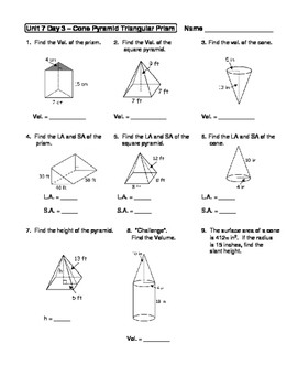 geometry unit 7 cone pyramid triangular prism surface area volume worksheet - Surface Area And Volume Worksheet