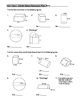 geometry unit 7 cylinder sphere rectangular prism surface area volume worksheet - Surface Area And Volume Worksheet