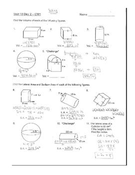 Geometry Unit 7 Cylinder Sphere Rectangular Prism Surface Area Volume Worksheet