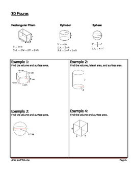 Geometry Unit 7 Notetaking Guide - 2D/3D Area and Volume