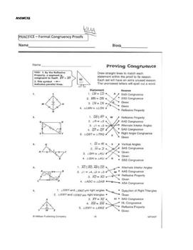 Geometry Unit 8 Congruent Triangles 2 column Proofs SSS SAS ASA AAS HL Worksheet