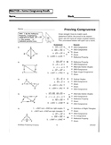 Geometry Unit 8 Congruent Triangles 2 column Proofs SSS SA