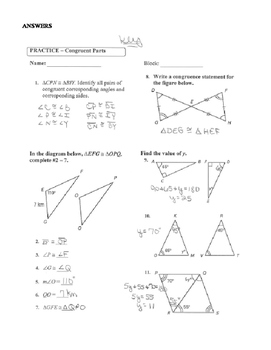 Geometry Unit 8 Congruent Triangles CPCTC Congruency Statement Worksheet