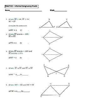 Geometry Unit 8 Congruent Triangles Informal Proofs SSS SAS ASA ...