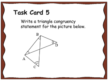 Geometry Unit 8 Task Cards Review - Congruent Triangles