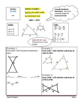 Geometry Unit 9 Notetaking Guide - Similar Triangles