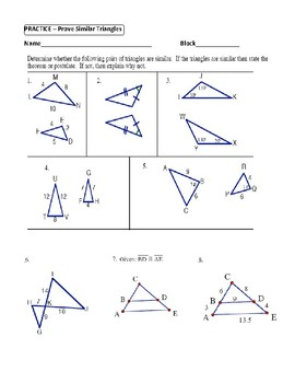 Geometry Unit 9 - Prove Similar Triangles by AA SAS SSS Worksheet