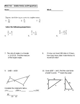 Geometry Unit 9 - Similar Triangles Ratio and Proportion Worksheet