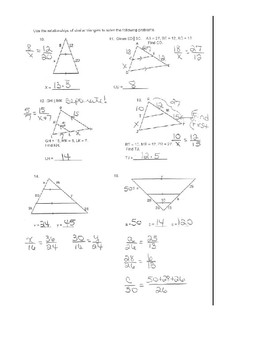 Geometry Unit 9 - Solve Similar Triangles and Word Problems Worksheet