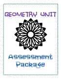 Geometry Unit Assessment Package (Pretest, Posttest, Study Guide)
