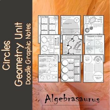 Geometry Unit:  9 PAGES Circles Doodle Graphic Organizer