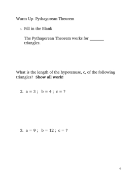 Geometry Unit Daily Warm Up Questions