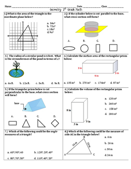 Geometry unit exam 7th grade math by math maker tpt geometry unit exam 7th grade math ccuart Images