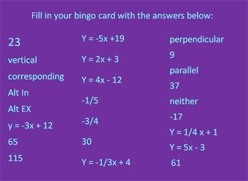Geometry Unit One Bingo