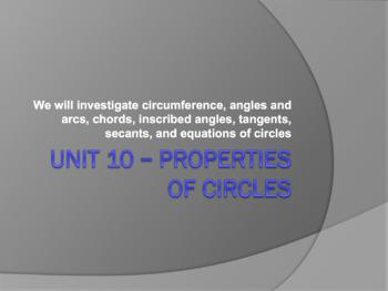 Geometry Unit Plan 10 - Circles