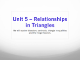 Geometry Unit 5 Bundle - Triangle Relationships Bisector Median Altitude -11 day