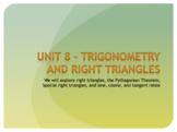Geometry Unit 8 Bundle - Trignometry, Right Triangles, Vectors (15 Days)