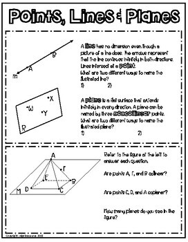 Geometry Unit: 8 PAGES Points, Lines, & Planes Doodle Graphic Organizer