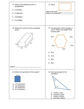 Common Core Geometry Unit Post-test Grade 5