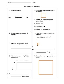 Common Core Geometry Unit Pre-test Grade 5