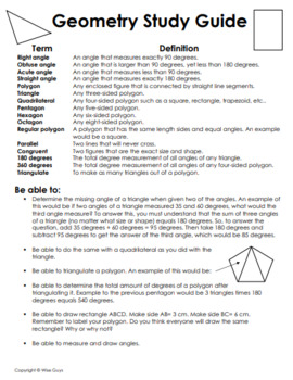 FREE Geometry Unit Study Guide by Wise Guys | Teachers Pay ...