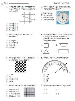Geometry Unit Test (Math EnVision Grade 4)