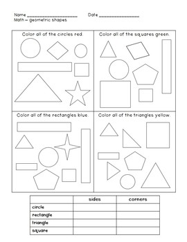 Geometry Unit {first grade}