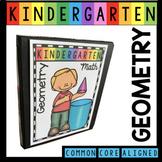 Geometry Math Unit for Kindergarten - Shapes - 3D Solids Math Centers Worksheets