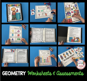 Geometry Math Unit for Kindergarten - Shapes - 3D Solids Math Centers Worksheets