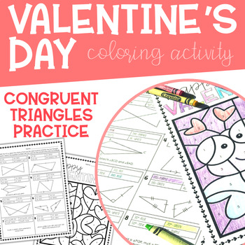 Geometry Valentine's Day Coloring Activity: Congruent Triangles