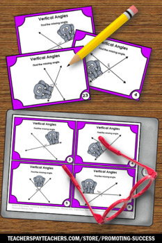 Angles Task Cards, Geometry Games, 7th Grade Math Review