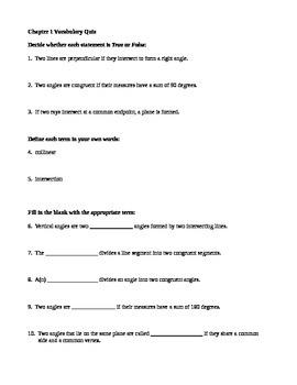 Geometry Vocab Quizzes