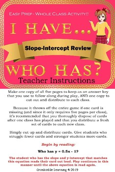 I Have . . . Who Has? Slope-Intercept Quick-Prep Review