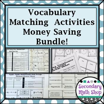 Geometry Vocabulary Activities Cut, Match and Paste Money Saving Bundle!