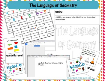 Geometry Bundle: Games, Activities, Digital, Interactive Vocabulary Notebooks