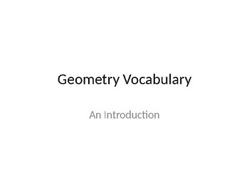 Geometry Vocabulary: An Introduction