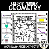 Geometry Vocabulary, Angles, and Classifying Shapes: Halloween Color by Number