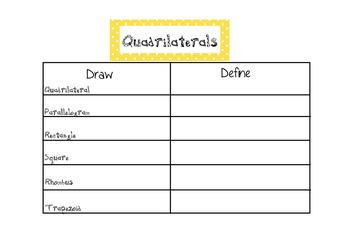Geometry Vocabulary Attributes Characteristics Study Guide  CCSS 3.G.1