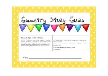 Geometry Vocabulary Attributes Characteristics Study Guide