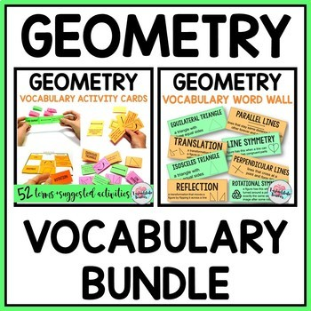Geometry Vocabulary BUNDLE: Activities, Games, Study Cards