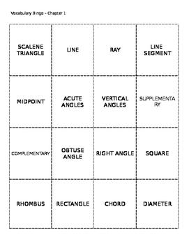 Geometry Vocabulary Bingo